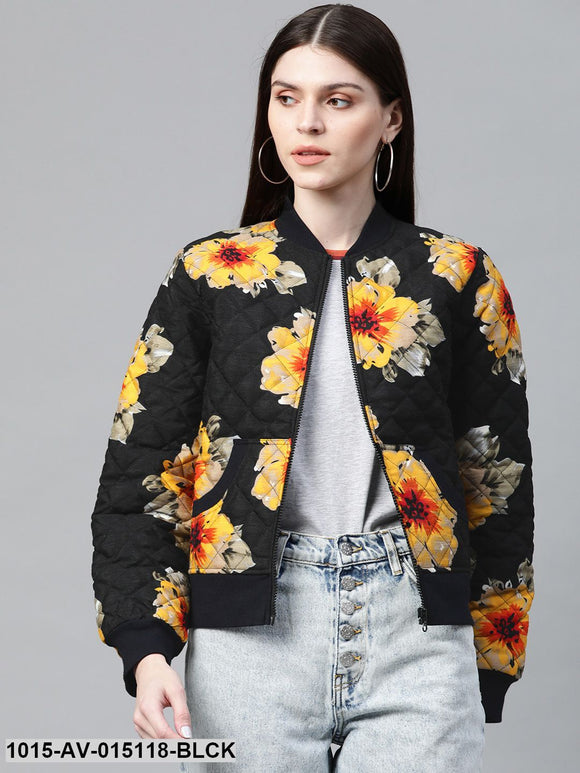 Black Floral Polysilk Bomber Jacket