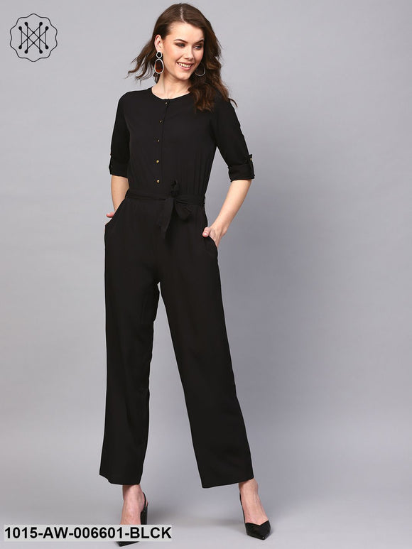 Black Tie Belt Jumpsuit