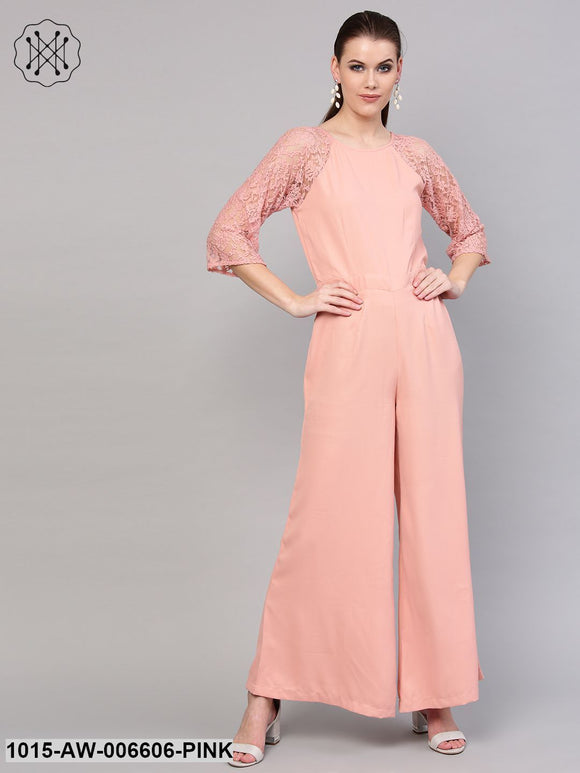 Onion Pink Raglan Lace Sleeves Jumpsuit