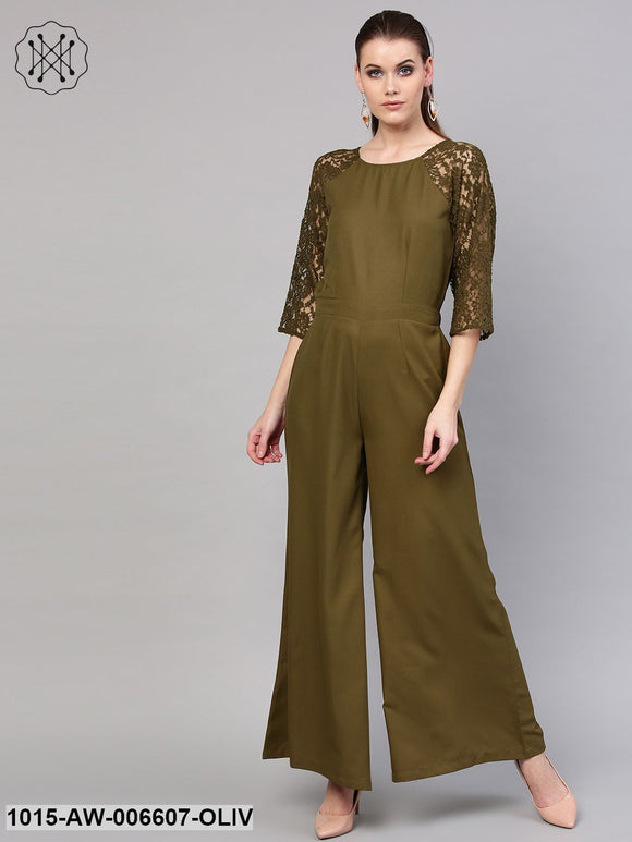 Olive Raglan Lace Sleeves Jumpsuit