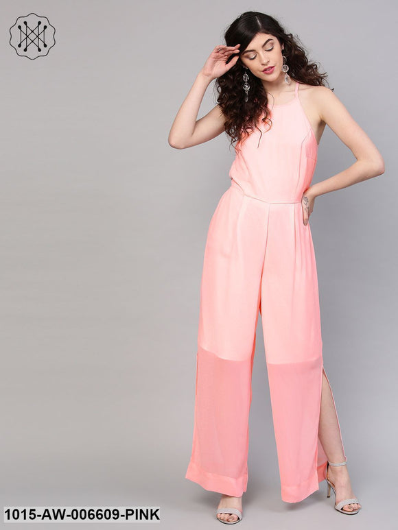 Pink Side Slit Halter Jumpsuit
