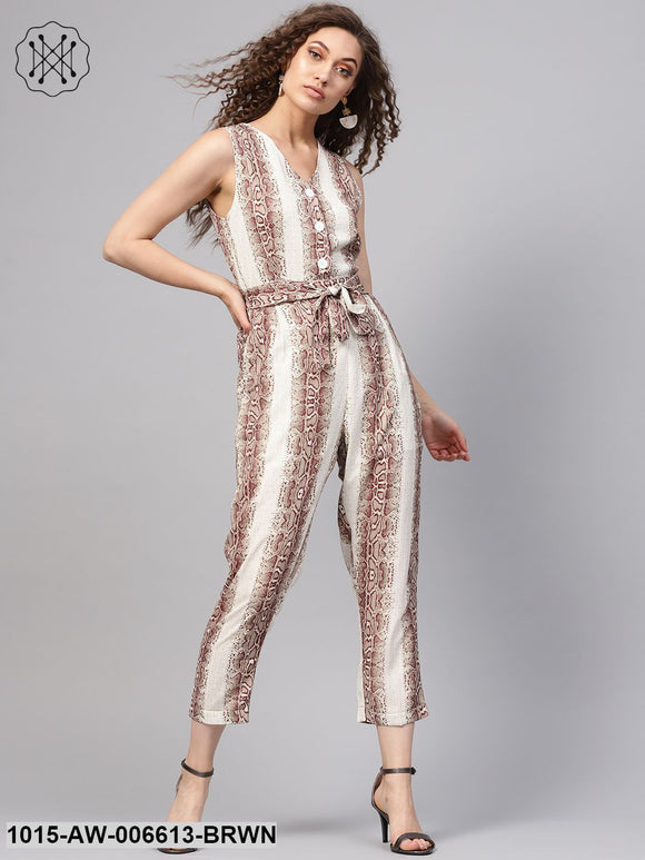 Brown Snake Tapered Jumpsuit