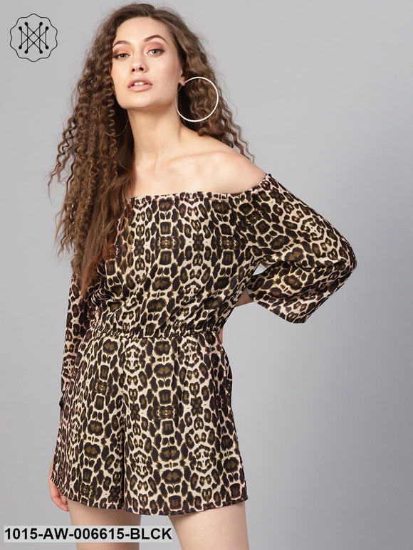 Black Cheetah Off Shoulder Romper