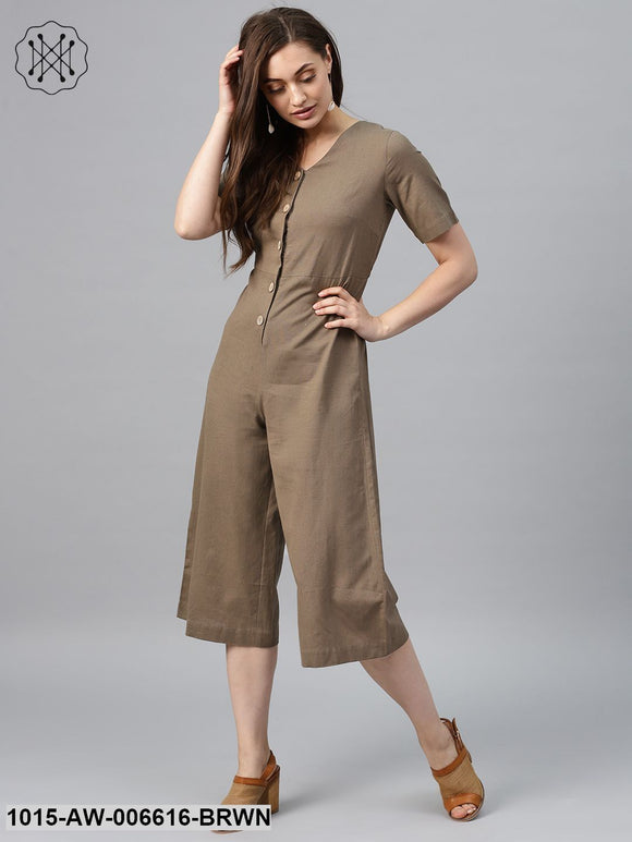 Brown Front Button Culottes Jumpsuit