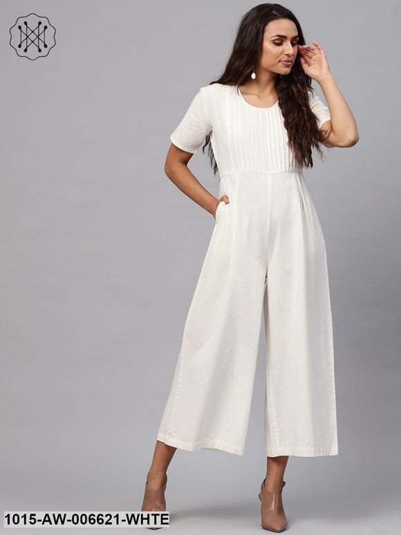 White Pleated Palazzo Jumpsuit