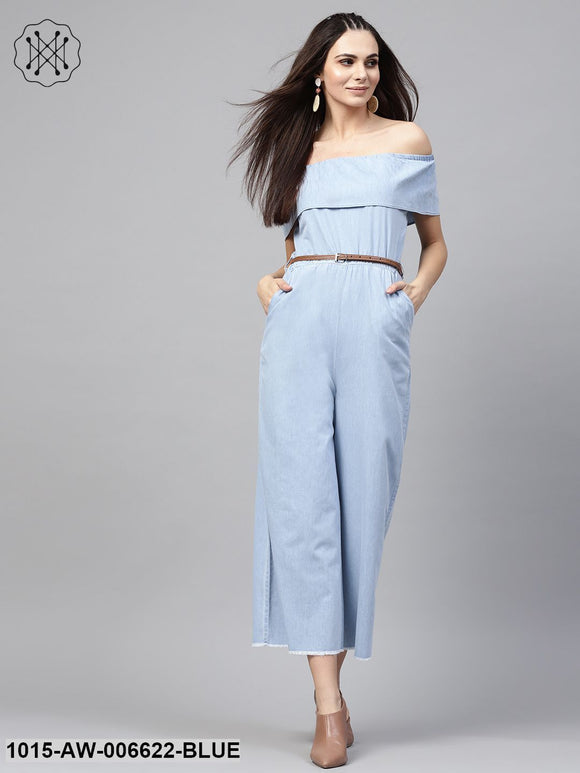 Blue Acid Denim Belted Bardot Jumpsuit