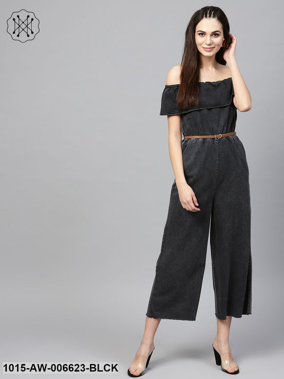 Black Acid Denim Belted Bardot Jumpsuit