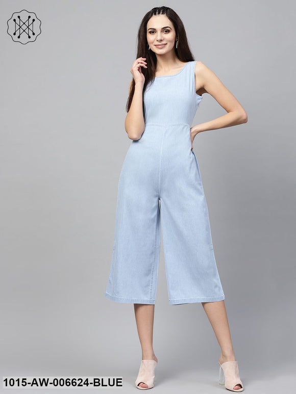 Blue Denim Wrap Culottes Jumpsuit