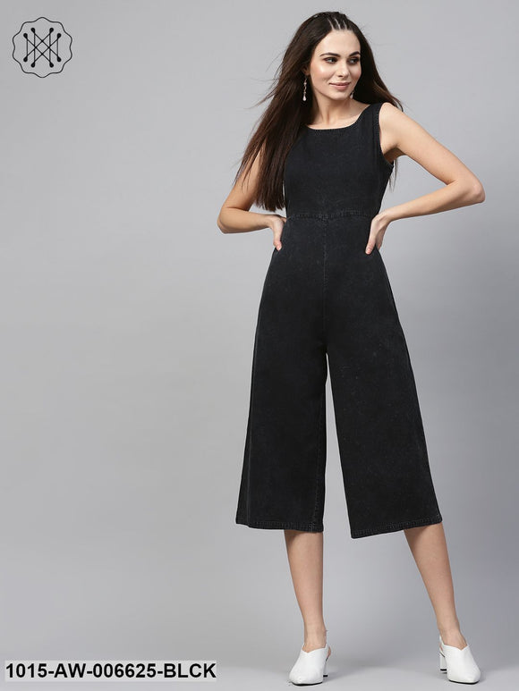 Back Denim Wrap Culottes Jumpsuit