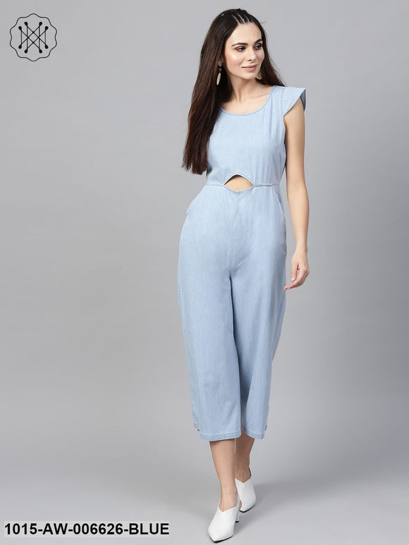 Blue Denim Cut Out Jumpsuit