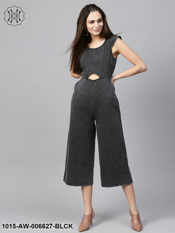 Black Denim Cut Out Jumpsuit
