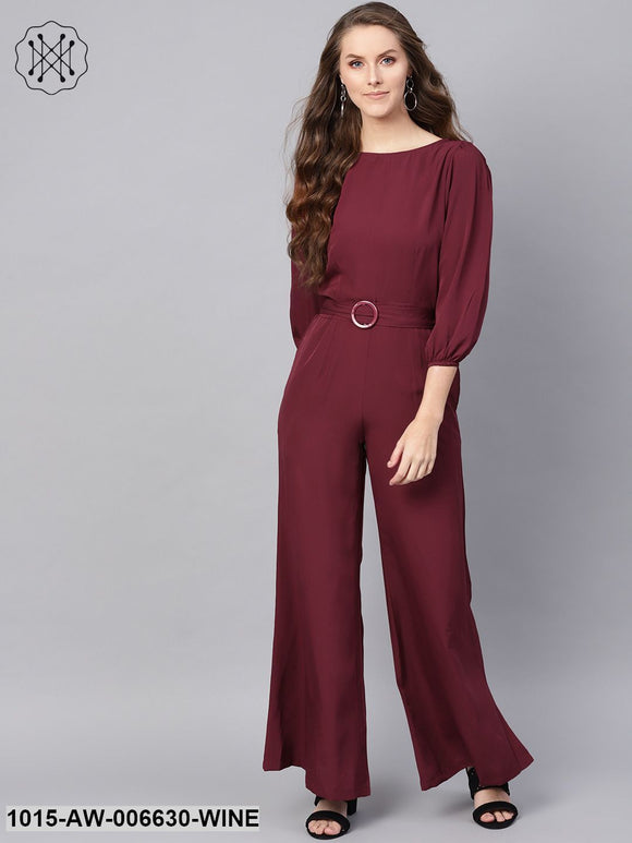 Wine Buckle Belt Jumpsuit