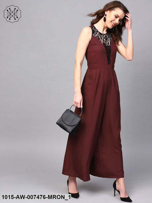 Lace Neck Maroon Palazzo Jumpsuit