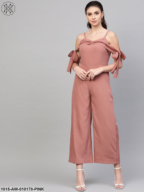Baked Pink Tie Up Sleeve Detail Jumpsuit