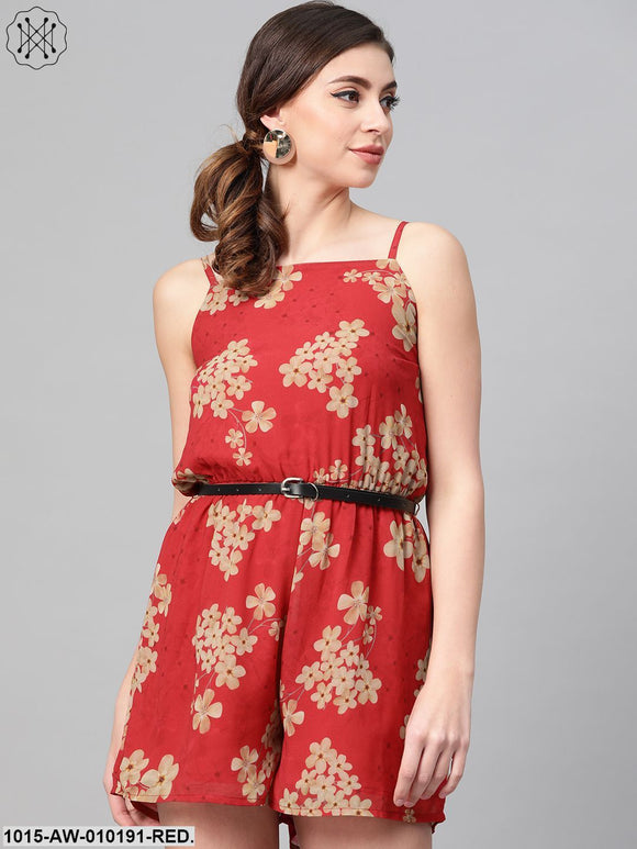 Red Floral Strappy Romper With Pu Belt