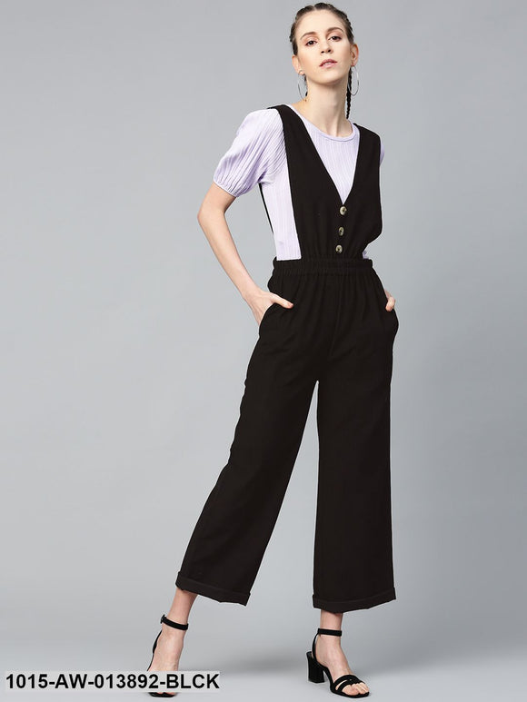 Black Corduroy Buttoned Dungaree