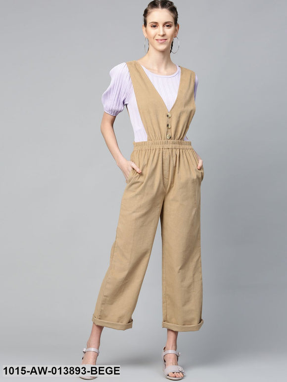 Beige Corduroy Buttoned Dungaree