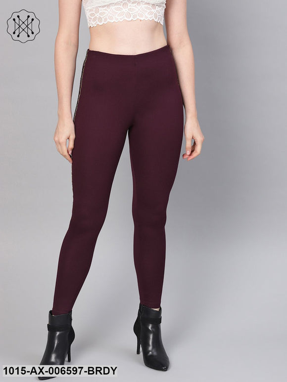 Burgundy Blingy Side Tape Jegging