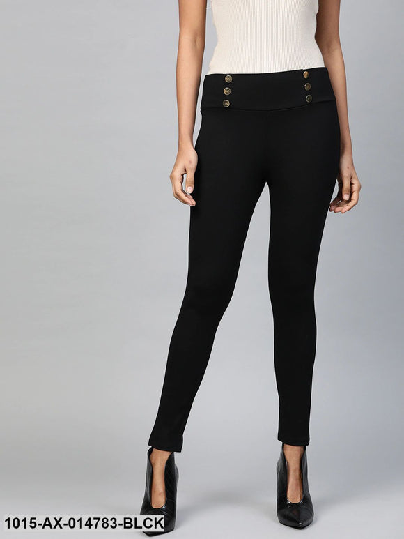 Black Mock Button High Waist Jeggings