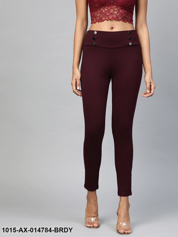 Burgundy Mock Button High Waist Jeggings