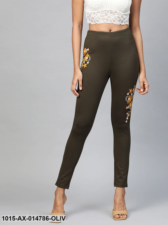 Olive Embroidered Jeggings