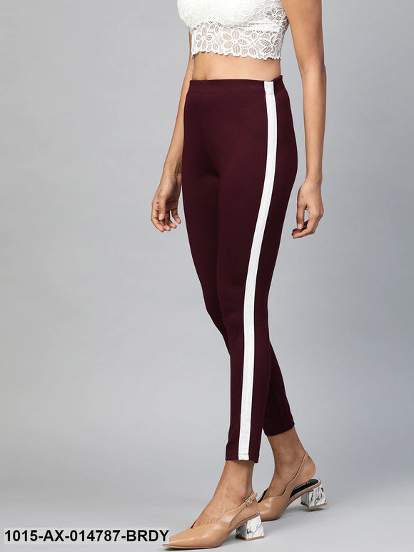 Burgundy Side Tape Jeggings