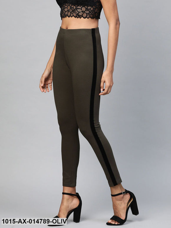 Olive Side Tape Jeggings