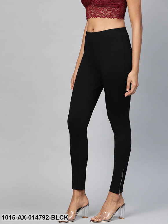 Black Zipper-at-Hem Jeggings