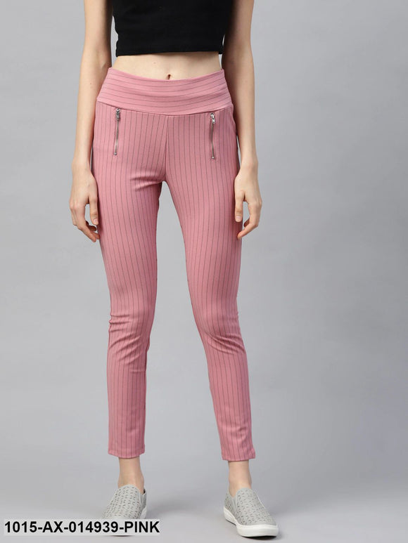 Pink Side Zipper Striped Jeggings