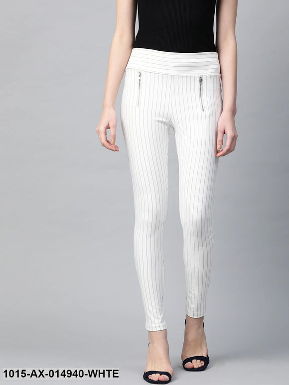 White Side Zipper Striped Jeggings