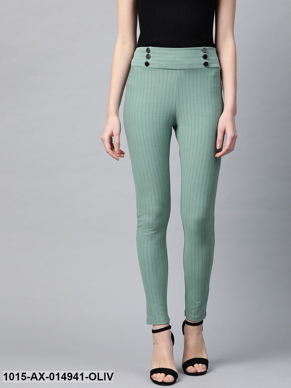 Olive High Waist Show Elastic Striped Jeggings