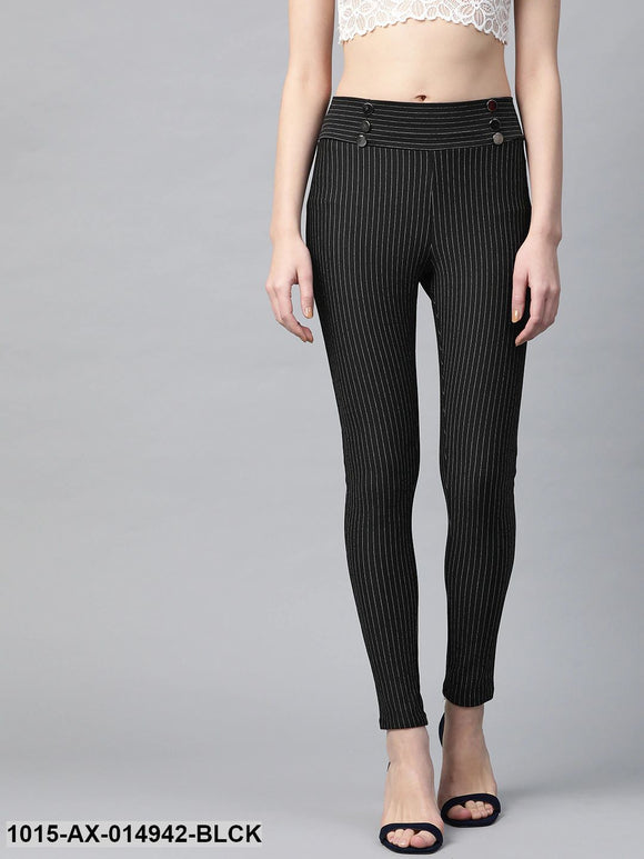 Black High Waist Show Elastic Striped Jeggings