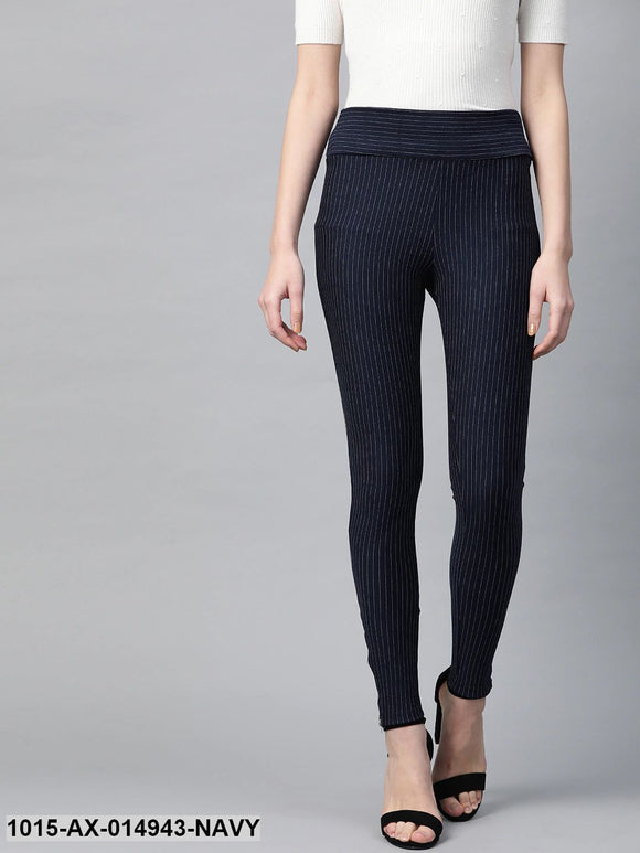 Navy Zipper-At-Hem Striped Jeggings