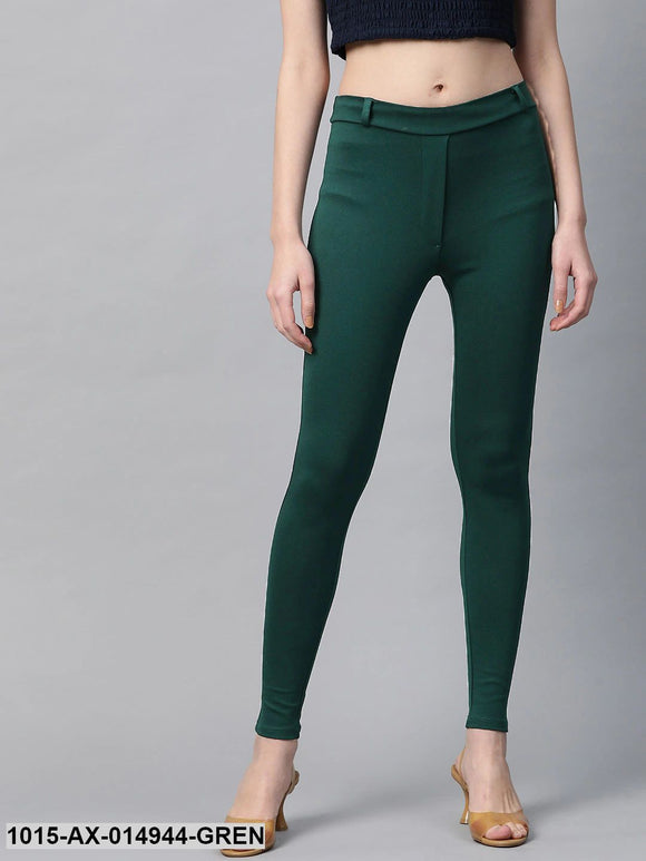 Green Mock Fly Jeggings