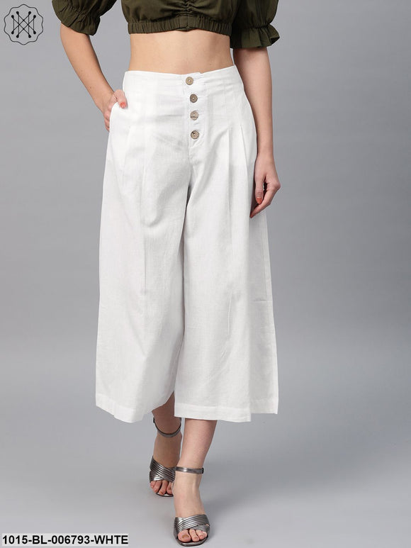 White Front Button Pants