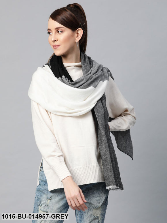 Grey & White Colour Block Acrylic Wool Stole