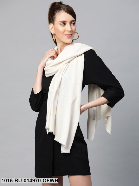 Off White Recycled Poly Cotton Brushed Stole
