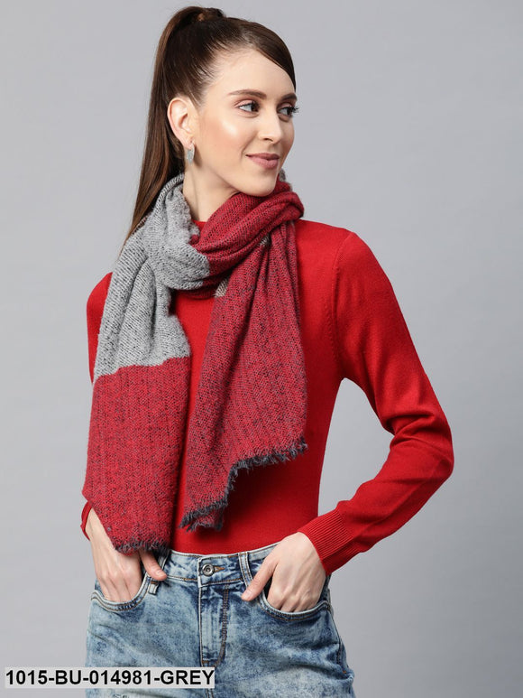 Grey & Red Mohair Stripe Stole