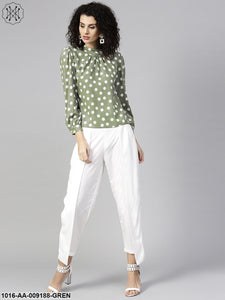Green Full Sleeve Printed Tops With Ankle Length Palazzo