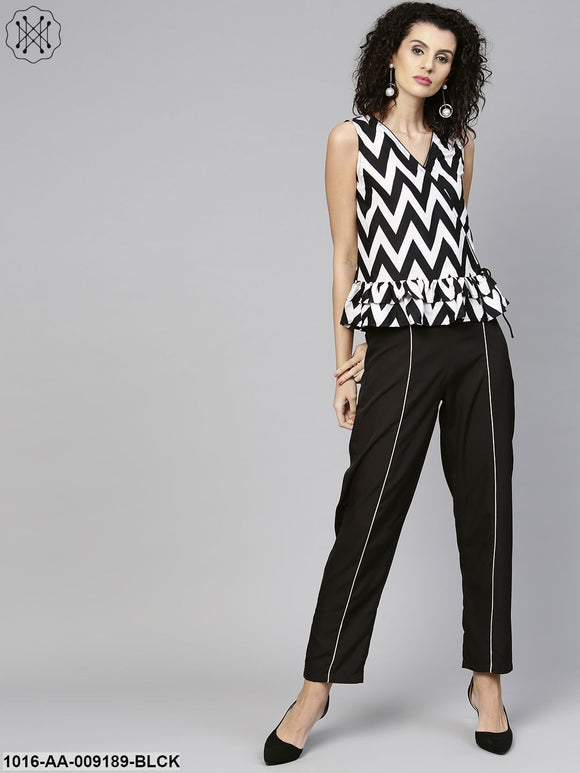 Black & White Zig Zag Print Sleeveless Crop Top With Black Pallazo