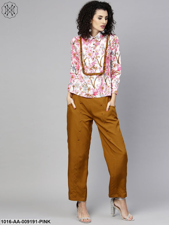 Full Sleeve Flower Printed Tops With Yellow Ankle Length Trouser