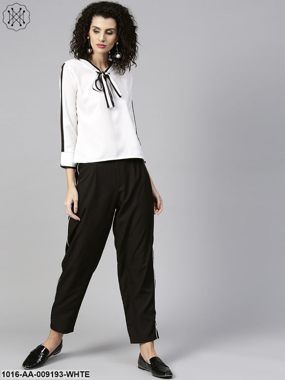 White Full Sleeve Tie Design Tops With Black Ankle Length Pallazo