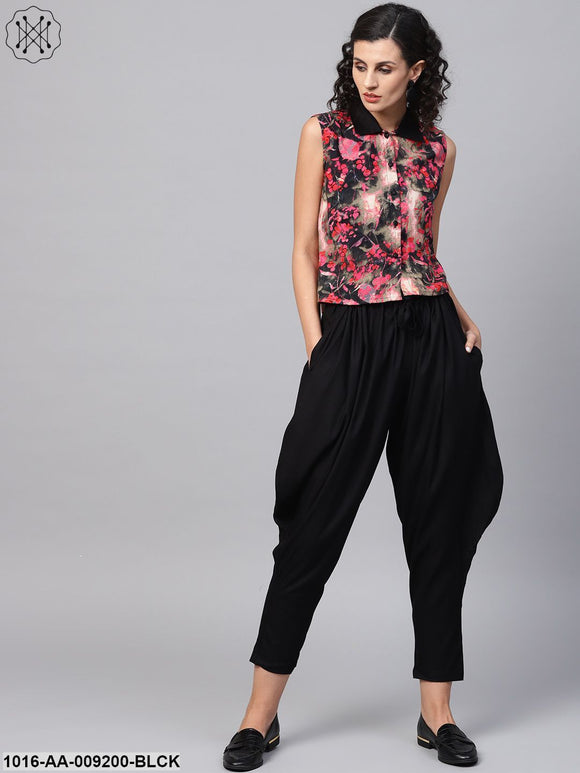 Pink & Black Printed Sleeveless Tops With Black Ankle Length Balloon Pant