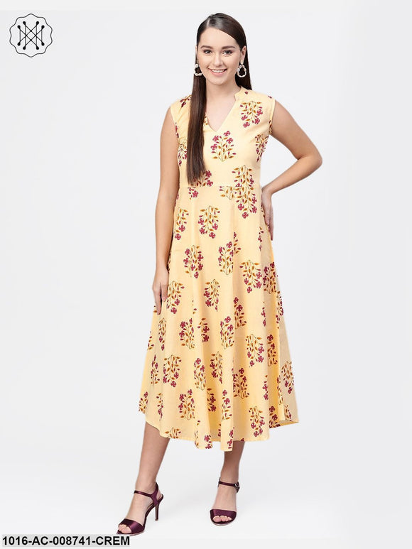 Cream Multi Colored Floral Sleeveless A- line dress with Mandarin Color