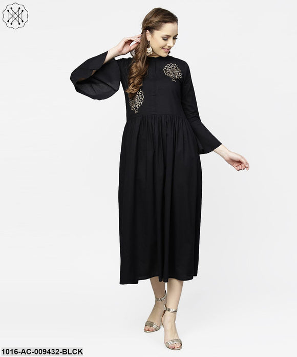 Black Full Sleeve Golden Boota Printed Cotton Maxi Dress