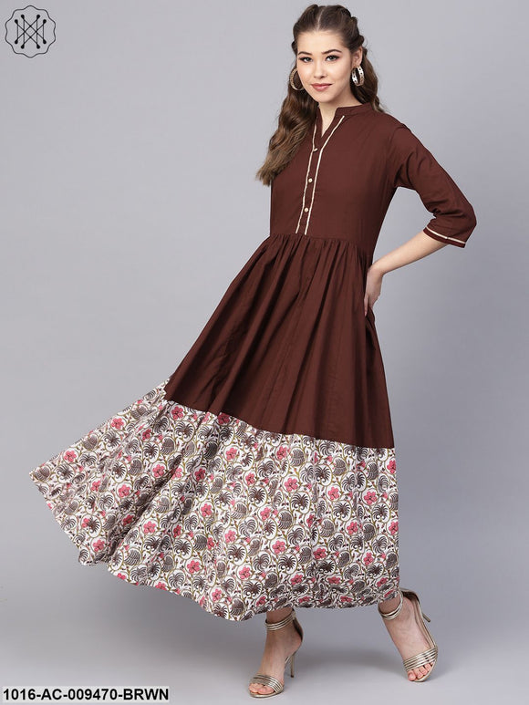 Dark Brown Maxi Dress  With Printed Border & Front Placket With Madarin Collar