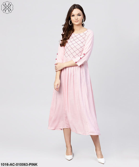 Rayon Pink Embroidered Full Sleeves Pleated Maxi Dress