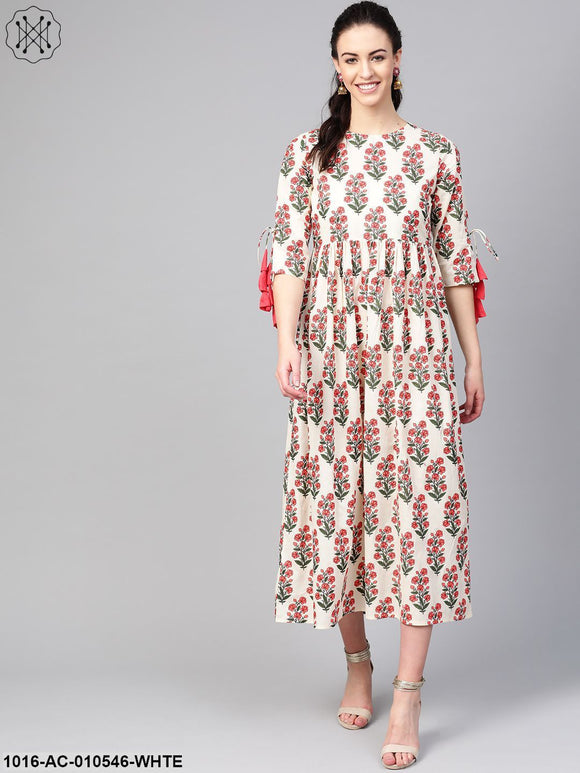 Women White & Coral Floral Printed Maxi Dress