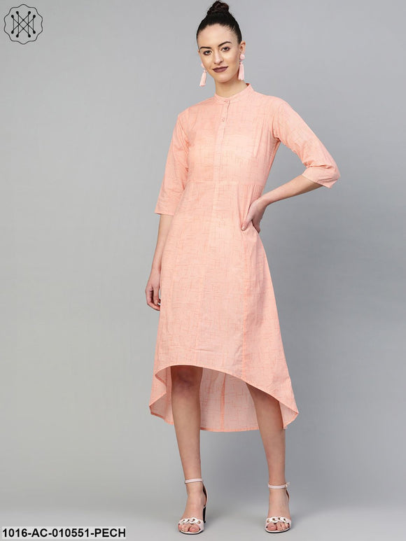 Women Peach &  Solid A-Line Dress