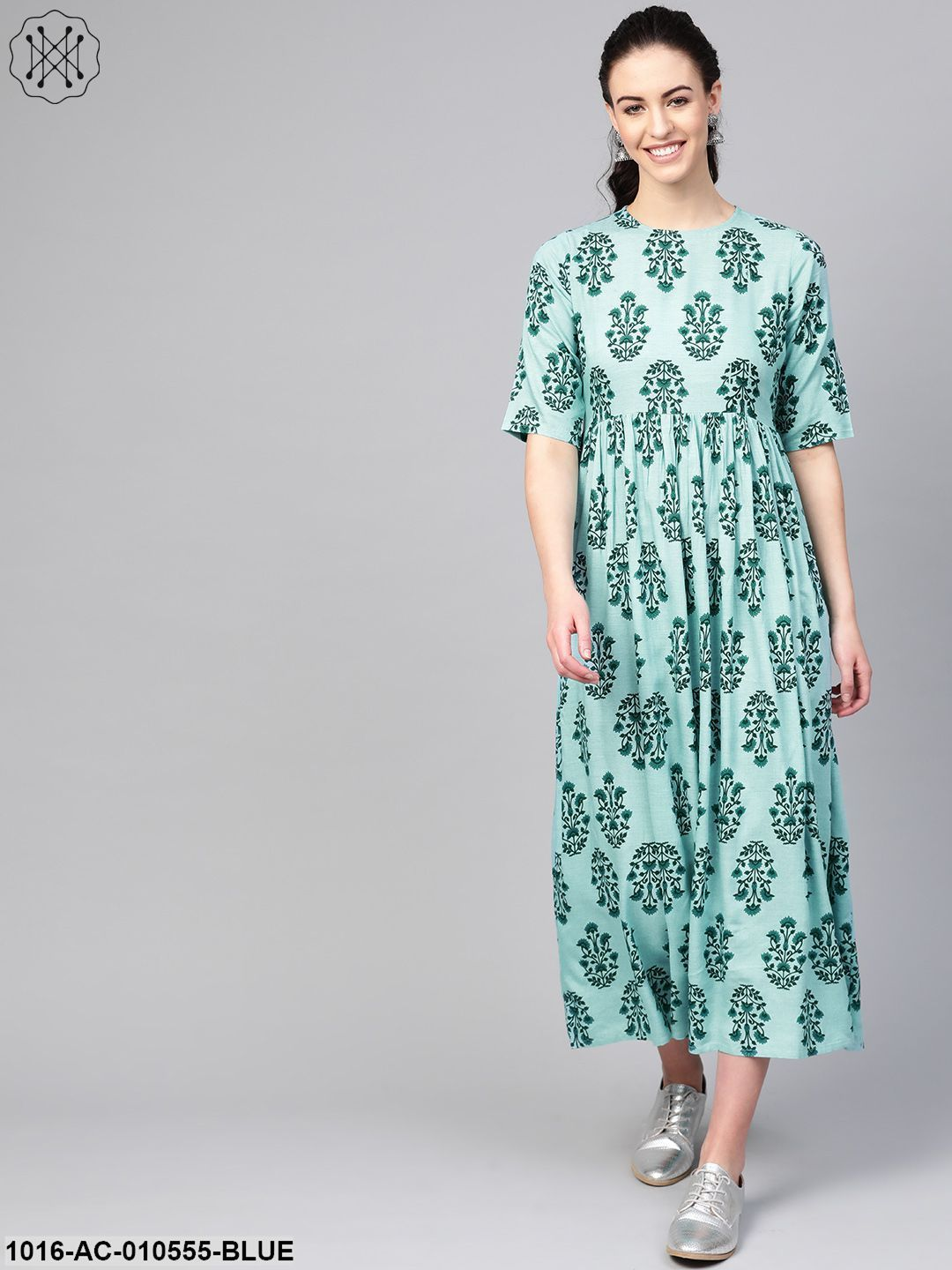 Women Turquoise Blue & Green Floral Printed Maxi Dress